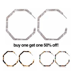 Gray/Pink Multi Acrylic Hexagon Hoop Earrings